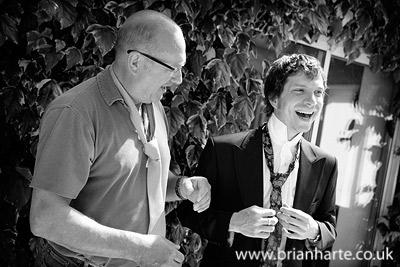York Wedding photo. Groom Jamie getting ready