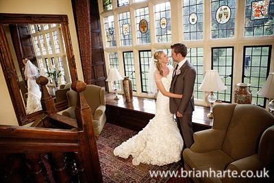 wedding photo staircase goldsborough hall