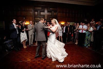 wedding first dance goldsborough hall oak panel library