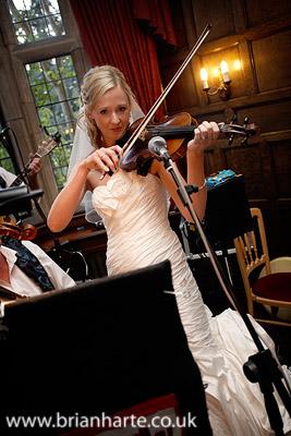 wedding day bride and violin